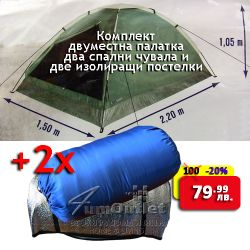 Комплект двуместна палатка, 2 спални чувала и 2 изолиращи постелки