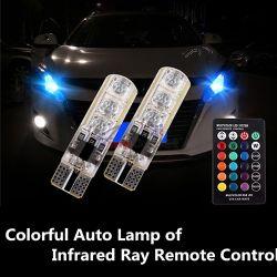 T10 6SMD RGB автомобилни цветни габарити с дистанционно управление